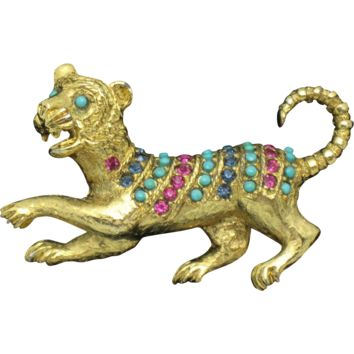 VENDOME Figural Tiger Rhinestone Faux Turquoise Beaded Brooch