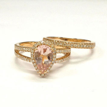 Diamond Wedding Ring Sets!Morganite Engagement Ring 14K Rose Gold,6x8mm Pear Cut Morganite,Split Shank,Milgrain Stackable Matching Band