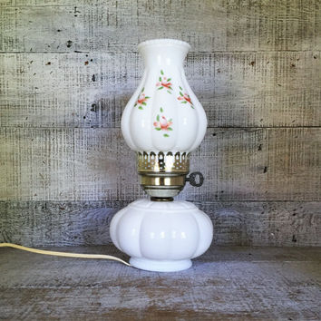 Lamp Milk Glass Lamp Mid Century Lamp Milk Glass Hurricane Shade with Roses On It Table Lamp Desk Lamp Antique Glass Light Cottage Chic