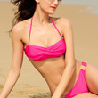 Rosy Ruched Top Bikini Set with O-Ring Detail