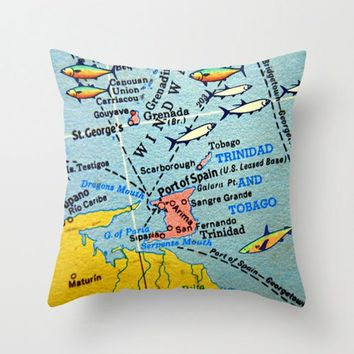 Trinidad and Tobago Map Pillow Cover, Trinidad and Tobago Pillow, St Georges Granada Port of Spain Throw Pillow, Map Pillows, Trinidad map
