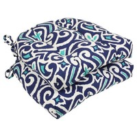 Pillow Perfect New Damask Reversible Chair Pad - Blue