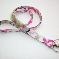 Lanyard  ID Badge Holder - cosmo flowers - THINNER design  - Lobster clasp and key ring