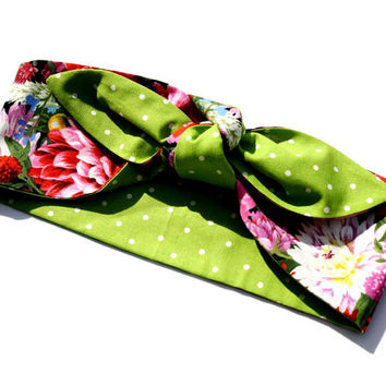 Spring Collection, Vintage Inspired Head Scarf, Beautiful Garden Floral, Retro, Rockabilly