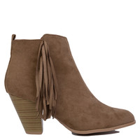 Fringe Taupe Heeled Ankle Booties