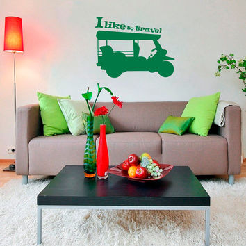 Wall Decals I Like to Travel Quotes Auto Rickshaw Tuk-Tuk Car Countries Asia  Living Any Room Vinyl Decal Sticker Home Decor Murals  ML139