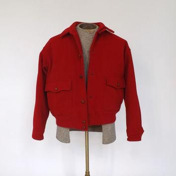 Vintage Mens 1970s Polo by Ralph Lauren Sportcoat Red Wool Knit Hiking Jacket Size Med