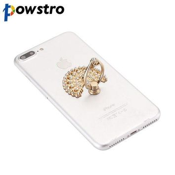 ICIKJY1 Powstro Luxury Peacock Diamond Finger Ring Universal Phone Holder Mount For iPhone 5 5s 6 6s 7 Samsung Mobile Phones Tablet Dock