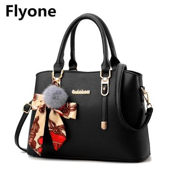 Fashion Women Handbags 2018 Famous Designer Crossbody Shoulder Bag with Fur Ball Bow Solid Lady PU Leather Messenger Bags Female