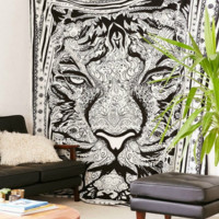 GLAM Exclusive Black White Jungle Cat Boho Wall Tapestry