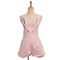 Girls Cute Pink Lolita Rabbit Bunny Ears Overalls Shorts Adjustable Length Suspender Trousers