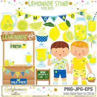 Lemonade stand for boys  Clipart, blue Lemonade Party, Summer Party, little boys, mason jar, Summer, picnic, Commercial-Personal Use