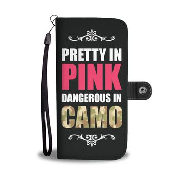 'Pretty in Pink, Dangerous in Camo' (Country Girl) Wallet Phone Case