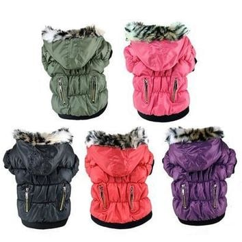 Winter Pet Cat Dog Soft Padded Coat Hooded Jacket Small Dog Clothes XS-XXL [9305913287]