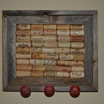 Framed Wine Cork Jewelry Display with Fire Engine Red Knobs
