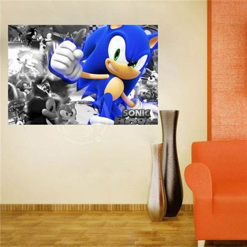 W620F56 Custom sonic the hedgehog Canvas Painting Wall Silk Poster cloth print DIY Fabric Poster FW#-54