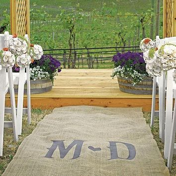 Personalized Burlap Aisle Runner with Vineyard Monogram Burlap with Delicate Lace Borders Berry (Pack of 1)