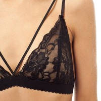 Wink Gal Women's Sexy Deep V Full Lace Thin Band Bralette