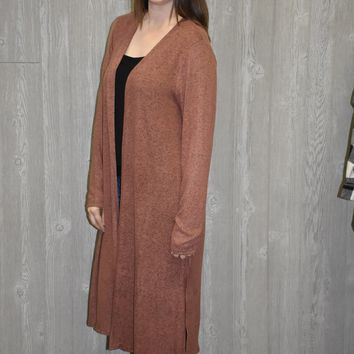 Waiting on Winter Long Cardigan: Rust
