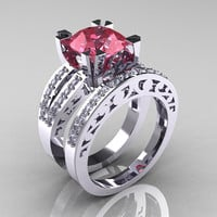 Modern Vintage 14K White Gold 3.0 Ct Light Tourmaline Diamond Solitaire Ring and Wedding Band Bridal Set R102S-14KWGDLT