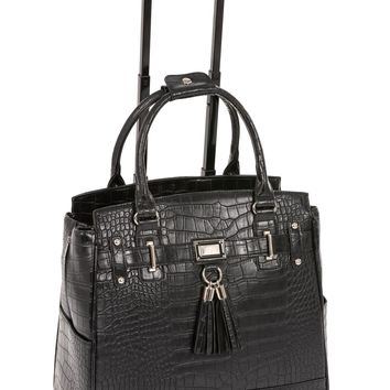 """""""THE TIMELESS"""" Black Alligator Rolling iPad, Tablet or Laptop Tote Carryall Bag"""