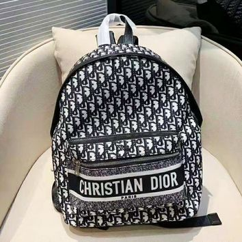 DIOR hot selling fashion full printed alphabet backpacks casual ladies shopping backpack Blacki