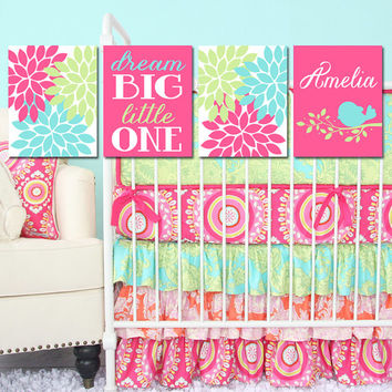 CRIB Wall Art GIRL Nursery Birdie Artwork Hot Pink Lime Aqua Bird Child Name Dream Big Little One Flower Bursts Set of 4 Prints Baby Decor