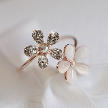 Opal Flowers Rhinestone Cuff Ring (Adjustable Band) - LilyFair Jewelry