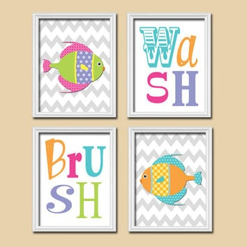 Funky Fish Nautical Colorful Bold Set of 4 Whimsical Wash Brush Chevron WALL ART Decor Picture Child Bathroom Shower Curtain Match