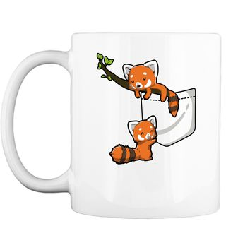 Pocket Series Cute Red Panda Bear Playing Cute Funny Tee Mug
