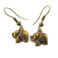 Small 3D Elephant Shaped Dangle Charm Earrings in Brass | DOTOLY