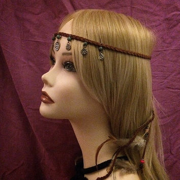 Hippie style festival headband suede beaded feather metal coins drop tassel adjustable boho headband hairpiece head piece headpiece brown