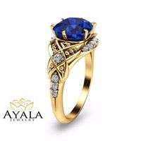 Cushion Cut Sapphire Engagement Ring-14K Yellow Gold Vintage Engagement Ring