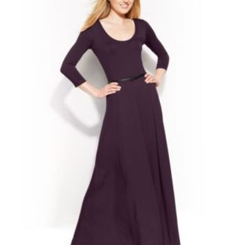 Calvin Klein Three-Quarter-Sleeve Belted Maxi Dress - Dresses - Women - Macy's