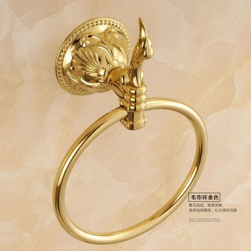 European Carved Towel Ring Bronze Antique Towel Rack Gold Polished Bathroom Towel Holder Bathroom Accessories Bathroom Products