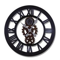Adeco CK0029 Antique Vintage Retro Round Decorative Iron Wall Clock Roman Numerals- Home Decor