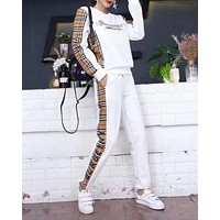 """Burberry"" Woman Leisure Fashion Letter Stitching Grid Printing Hedging Crew Neck Long Sleeve Tops Trousers Two-Piece Set Casual Wear Sportswear"