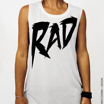 Rad Muscle - White Muscle Tee Tank T-shirt
