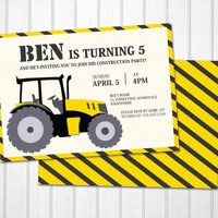 Construction birthday invitation tractor illustration PRINTABLE card