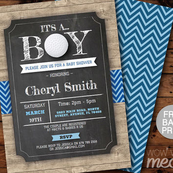Golf Boy Baby Shower Invitations Ball Chalk Rustic Wood Invite Sports INSTANT DOWNLOAD Blue Printable Digital Editable Personalize Couples