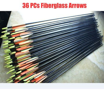 Steel Point/ Fiberglass Archery Arrow- 36pcs.