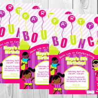 Bouncy House Birthday Invitation/Summer Birthday/Bouncy Party/Kids Party Invitations/Girl/Pink/Printable/Digital Invitation