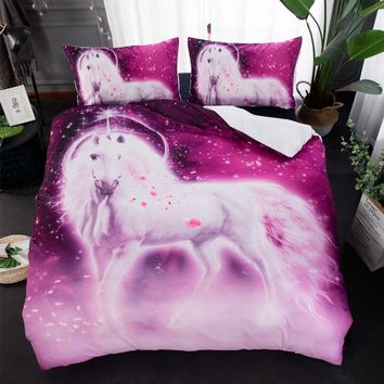 3pcs/lot Comforter Bedding Sets Petal Unicorn Printed Bed Cover Queen King Twin Size Duvet Cover Double Bed Sheets Home Textiles