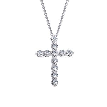 Lafonn Classic Sterling Silver Platinum Plated Simulated Diamond Necklace (1.87 CTTW)