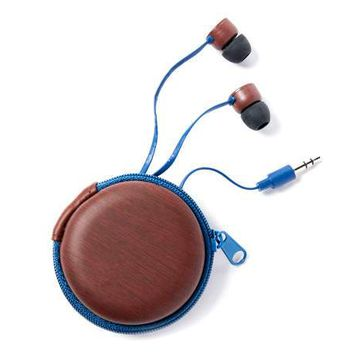 Vivitar Navy Blue Woodgrain Earbuds with Carrying Case