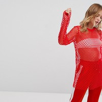 Monki Fishnet Long Sleeve Top at asos.com
