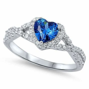 Sterling Silver 925 HEART LOVE KNOT BLUE SAPPHIRE CZ PROMISE RING 8MM SIZE 4-12