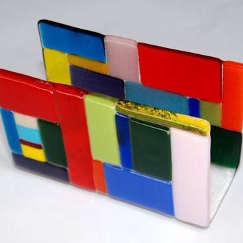 Napkin holder handmade by Dalit Glass by dalitglass on Etsy