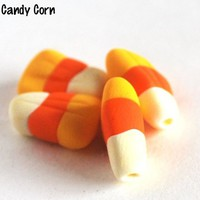 Halloween Candy Corn Beads Handmade Fall Autumn Jewelry Design 4 Beads
