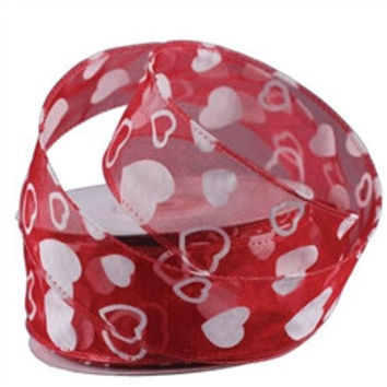 Flock Heart Organza Ribbon, 1-1/2-inch, 25-yard, Red with White Hearts